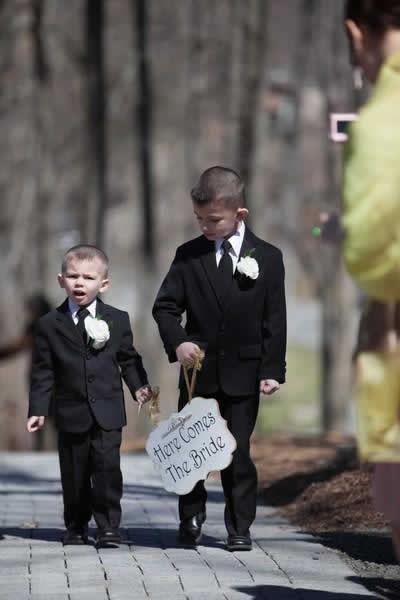 """Stroudsmoor Country Inn - Stroudsburg - Poconos - Real Weddings - """" Here Comes The Bride """" Sign Being Carried By Ring Two Ring Bearers"""