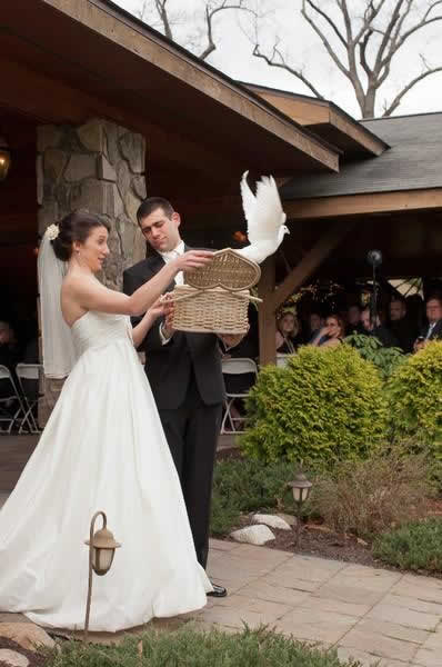 Stroudsmoor Country Inn - Stroudsburg - Poconos - Real Weddings - Bride And Groom Releasing A Dove
