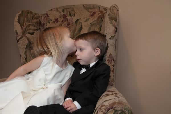 Stroudsmoor Country Inn - Stroudsburg - Poconos - Real Weddings - Young Girl Giving Young Boy Kiss On Head