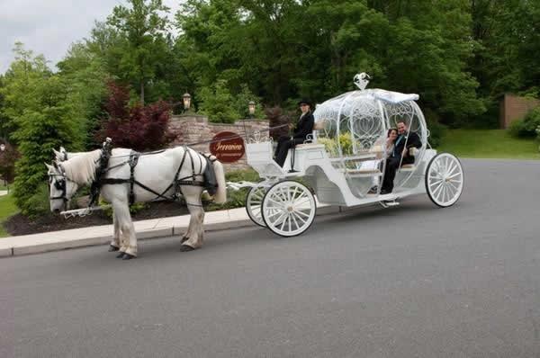 Stroudsmoor Country Inn - Stroudsburg - Poconos - Real Weddings - Bride And Groom In Wedding Carriage