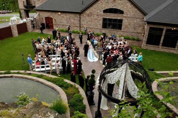 Stroudsmoor Country Inn - Stroudsburg - Poconos - Real Weddings - Bride, Groom And Guests After Ceremony On Lawn