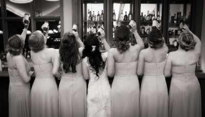 Stroudsmoor Country Inn - Stroudsburg - Poconos - Real Weddings - Bride With Bridesmaids Toasting