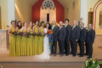 Stroudsmoor Country Inn - Stroudsburg - Poconos - Real Weddings - Bride, Groom, Bridesmaids And Groomsmen In Chapel