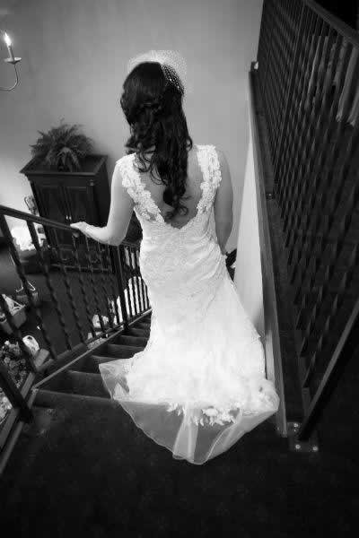 Stroudsmoor Country Inn - Stroudsburg - Poconos - Real Weddings - Bride Descending Staircase
