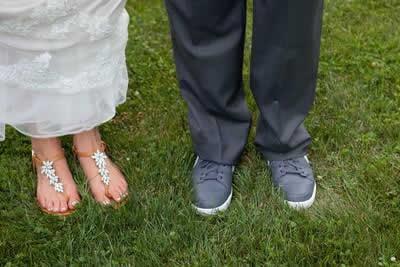 Stroudsmoor Country Inn - Stroudsburg - Poconos - Real Weddings - Bride And Groom Showing Comfy Shoes On Their Feet