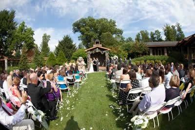 Stroudsmoor Country Inn - Stroudsburg - Poconos - Real Weddings - All Guests Gather For Wedding Ceremony Outside Near Gazebo