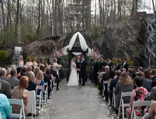 Stroudsmoor Country Inn - Stroudsburg - Poconos - Real Weddings - Bride, Groom, Family And Friends Gather For Ceremony