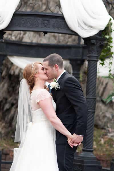 Stroudsmoor Country Inn - Stroudsburg - Poconos - Real Weddings - Happy Wedding Couple Near Gazebo