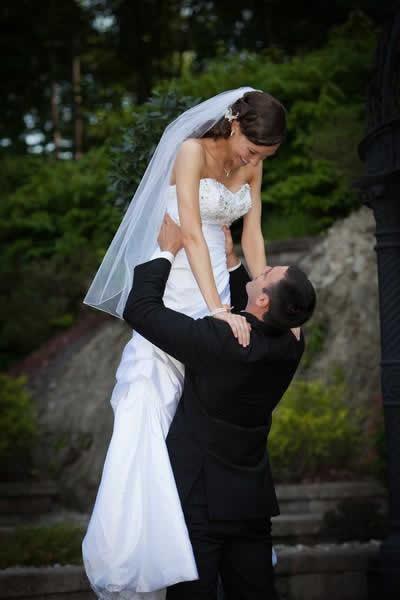 Stroudsmoor Country Inn - Stroudsburg - Poconos - Real Weddings - Happy Wedding Couple Outside Of Chapel