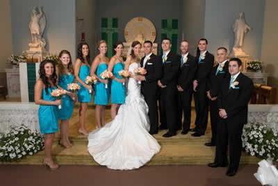 Stroudsmoor Country Inn - Stroudsburg - Poconos - Real Weddings - Bride, Groom, Bridesmaids, And Groomsmen In Wedding Chapel