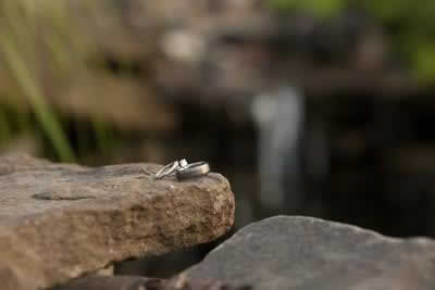 Stroudsmoor Country Inn - Stroudsburg - Poconos - Real Weddings - Engagement Ring And Wedding Ring Perched On Rock