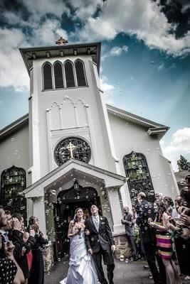 Stroudsmoor Country Inn - Stroudsburg - Poconos - Real Weddings - Bride And Groom Exiting Chapel