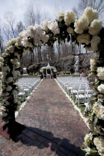 Stroudsmoor Country Inn - Stroudsburg - Poconos - Real Weddings - Outdoor Wedding backed by waterfall