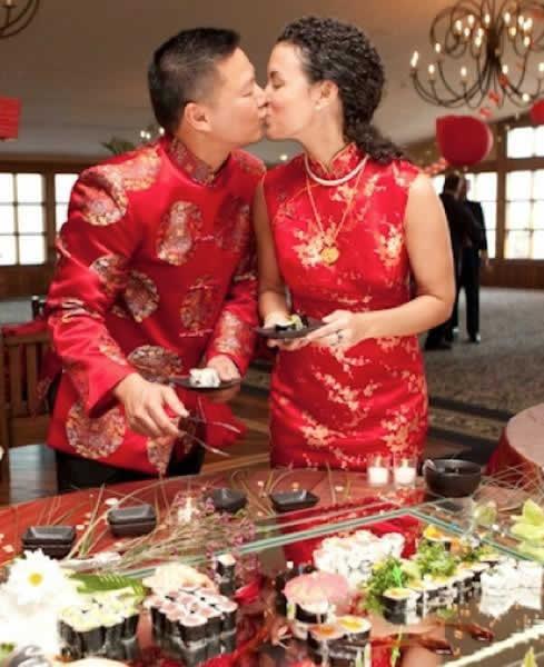 Stroudsmoor Country Inn - Stroudsburg - Poconos - Real Weddings - Couple Get A Kiss Between Desserts