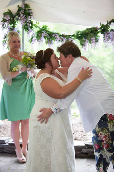 Stroudsmoor Country Inn - Stroudsburg - Poconos - Real Weddings - The Happy Couple Has The First Kiss