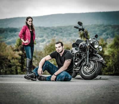 Stroudsmoor Country Inn - Stroudsburg - Poconos - Real Weddings - Bride, Groom And Motorcycle