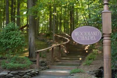 Stroudsmoor Country Inn - Stroudsburg - Poconos - Real Weddings - Grand Outdoor Staircase Leading Towards Woodland Chapel