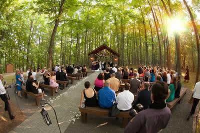Stroudsmoor Country Inn - Stroudsburg - Poconos - Real Weddings - All Gather For Wedding Ceremony Near Outdoor Chapel