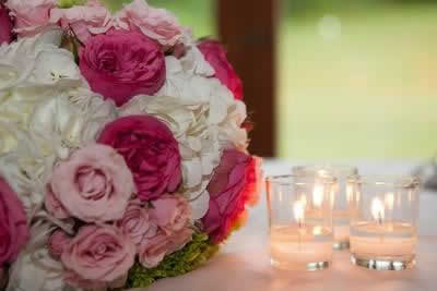 Stroudsmoor Country Inn - Stroudsburg - Poconos - Real Weddings - Large Floral Bouquet and Candles