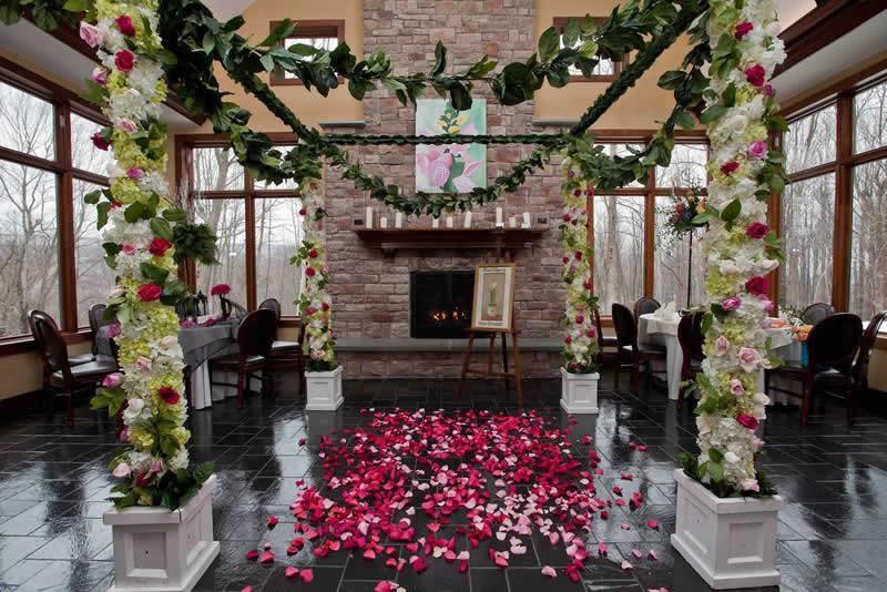 Stroudsmoor Country Inn - Stroudsburg - Poconos - Classic Wedding Celebrations - Wedding Decor Around Fireplace