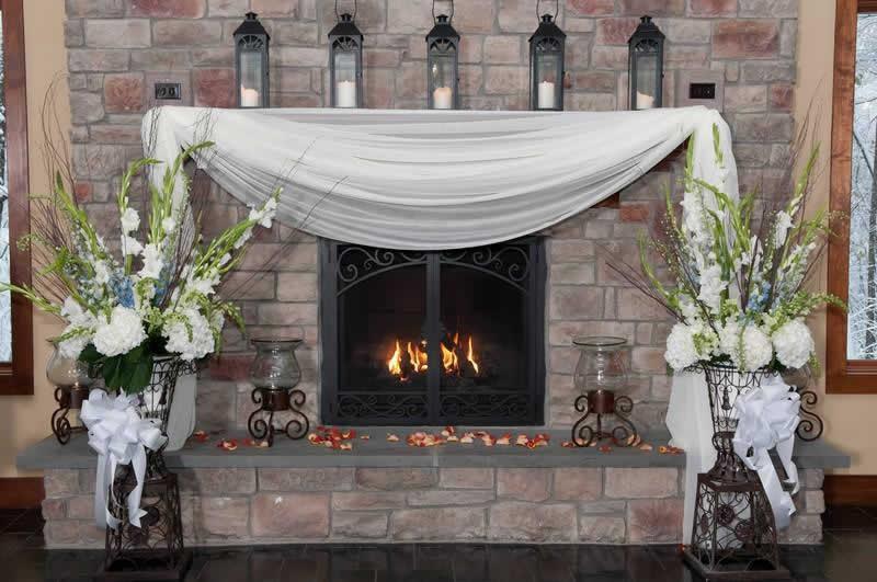 Stroudsmoor Country Inn - Stroudsburg - Poconos - Classic Wedding Celebrations - Wedding Decor Near Fireplace