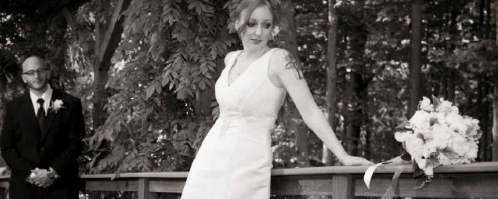 Stroudsmoor Country Inn - Stroudsburg - Poconos - Intimate Wedding - Bride Posing With Bouquet