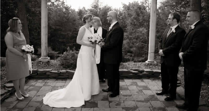 Stroudsmoor Country Inn - Stroudsburg - Poconos - Intimate Wedding - Bride And Groom Out By The Grotto