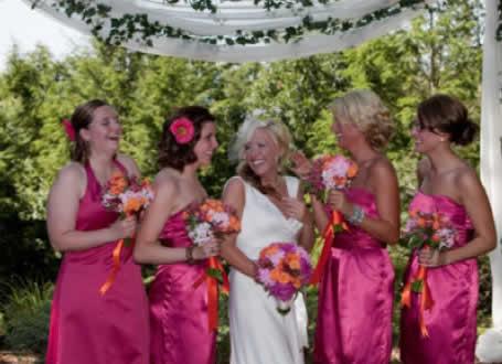 Stroudsmoor Country Inn - Stroudsburg - Poconos - Intimate Wedding - Bride With Bridesmaids Under Trellis