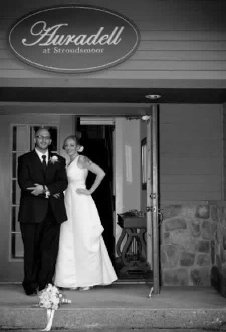 Stroudsmoor Country Inn - Stroudsburg - Poconos - Intimate Wedding - Bride And Groom Outside Auradell Grotto