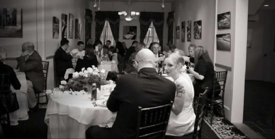 Stroudsmoor Country Inn - Stroudsburg - Poconos - Intimate Wedding - Wedding Party Enjoying Dinner