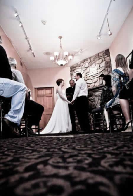 Stroudsmoor Country Inn - Stroudsburg - Poconos - Intimate Wedding - Wedding Couple Reciting Vows