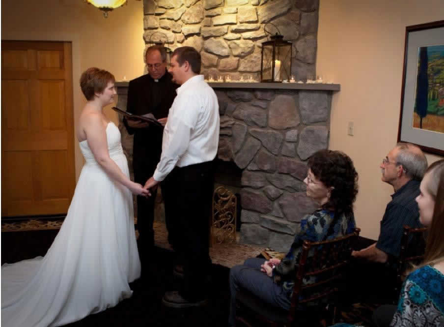 Stroudsmoor Country Inn - Stroudsburg - Poconos - Intimate Wedding - Bride And Groom Reciting Vows