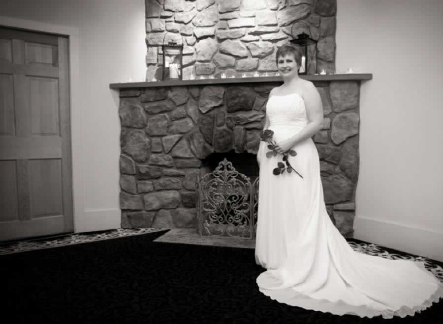 Stroudsmoor Country Inn - Stroudsburg - Poconos - Intimate Wedding - Beautiful Bride In Front Of Fireplace