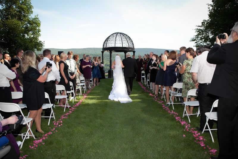 Stroudsmoor Country Inn - Stroudsburg - Poconos - Pocono Mountain Wedding - Father Walking Bride To Gazebo
