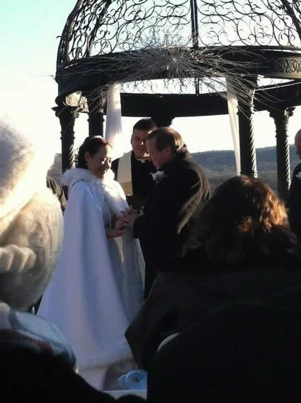 Stroudsmoor Country Inn - Stroudsburg - Poconos - Pocono Winter Wedding - Bride And Groom Under Gazebo