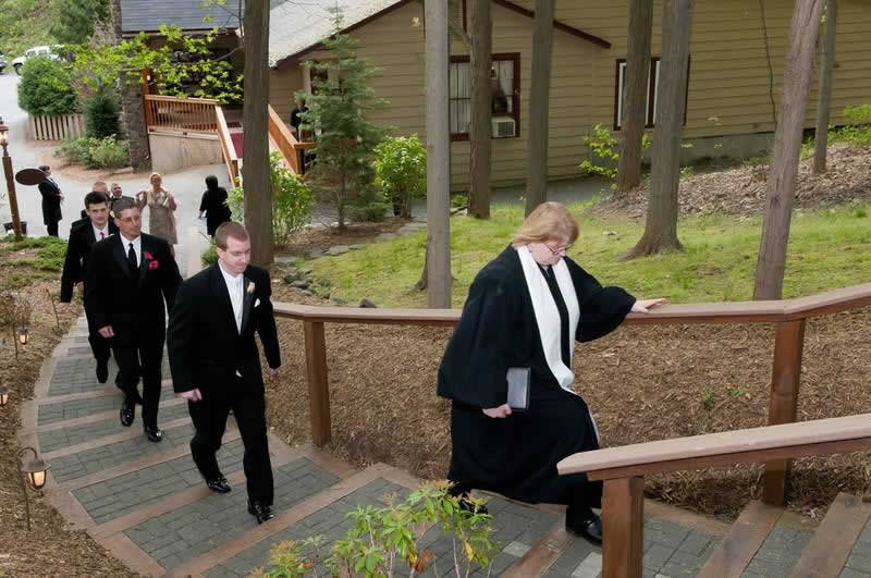 Stroudsmoor Country Inn - Stroudsburg - Poconos - Woodlands Outdoor Wedding - Wedding Party Joining Other Guests