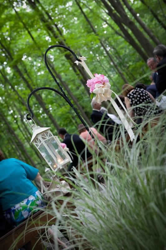 Stroudsmoor Country Inn - Stroudsburg - Poconos - Woodlands Outdoor Wedding - Wedding Guests Celebrating Surrounded By Wooded Forest