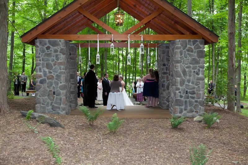 Stroudsmoor Country Inn - Stroudsburg - Poconos - Woodlands Outdoor Wedding - Wedding Couple Under Alter With Guests