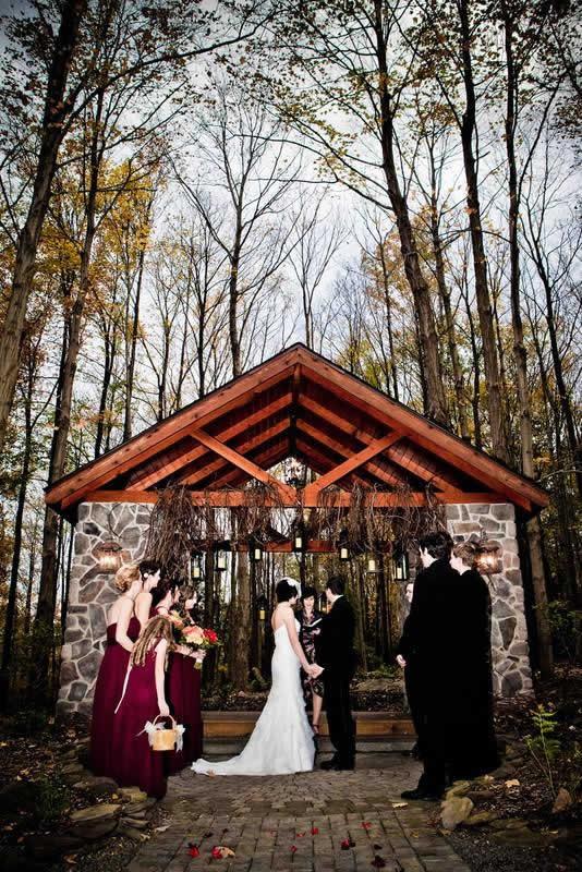Stroudsmoor Country Inn - Stroudsburg - Poconos - Woodlands Outdoor Wedding - Wedding Couple Reciting Vows