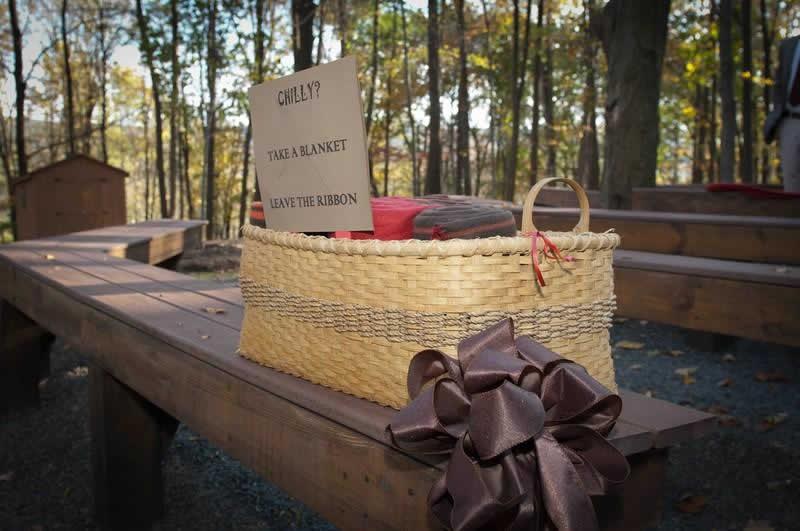 Stroudsmoor Country Inn - Stroudsburg - Poconos - Woodlands Outdoor Wedding - Basket Of Blankets For Wedding Guests