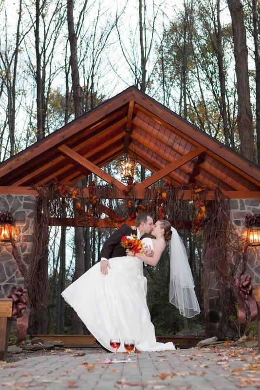 Stroudsmoor Country Inn - Stroudsburg - Poconos - Woodlands Outdoor Wedding - First Kiss After Vows