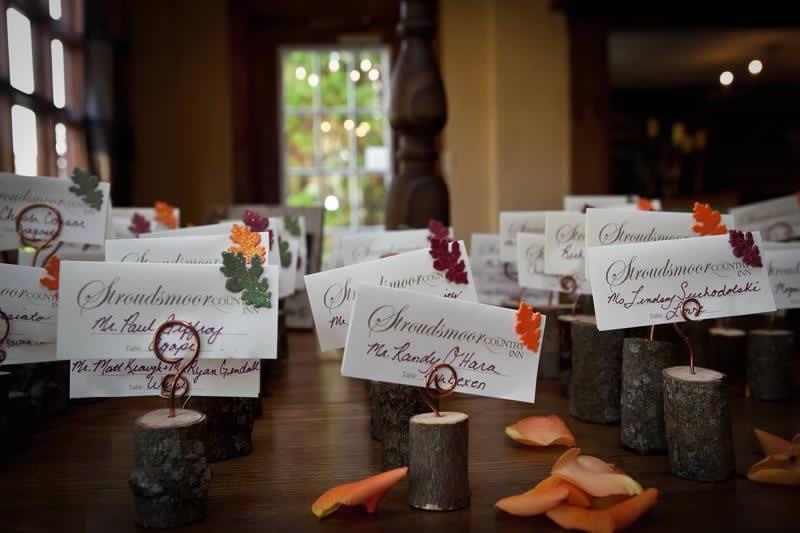 Stroudsmoor Country Inn - Stroudsburg - Poconos - Woodlands Outdoor Wedding - Seating Placement Cards - Woodlands Outdoor Wedding