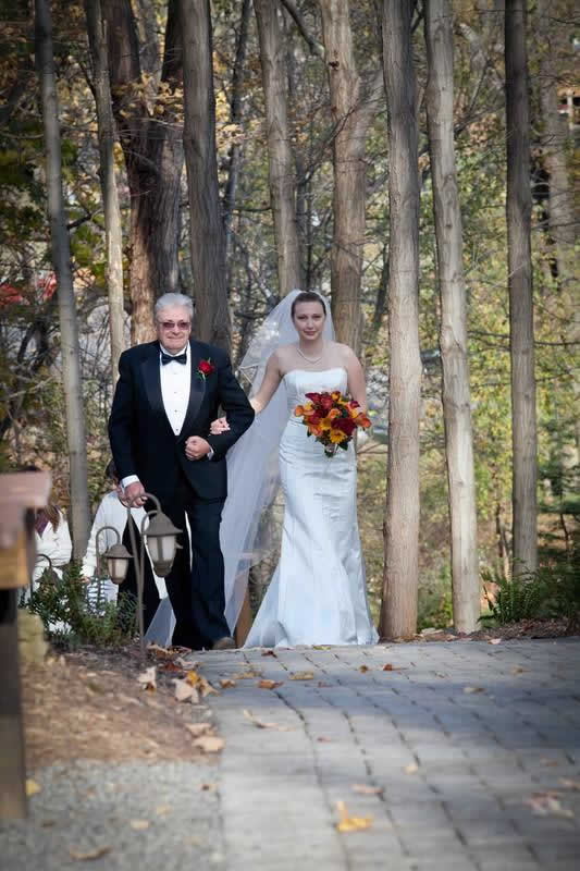 Stroudsmoor Country Inn - Stroudsburg - Poconos - Woodlands Outdoor Wedding - Bride With Dad
