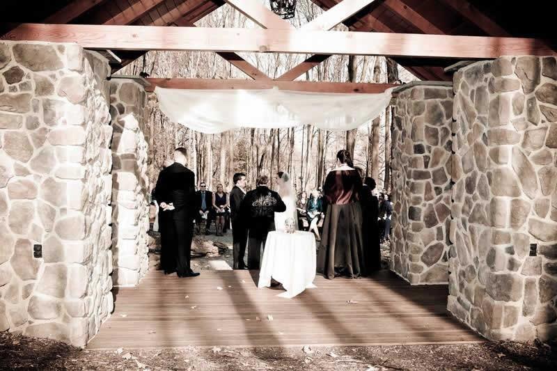 Stroudsmoor Country Inn - Stroudsburg - Poconos - Woodlands Outdoor Wedding - Bride And Groom Reciting Vows