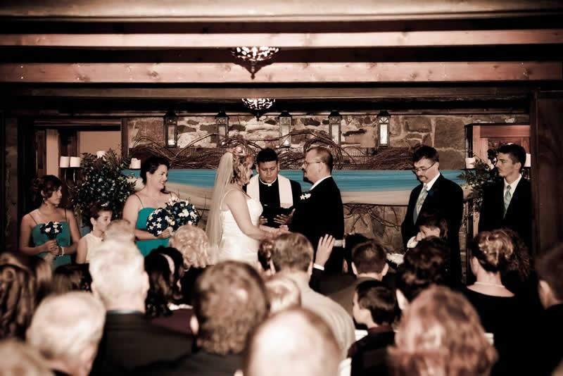 Stroudsmoor Country Inn - Stroudsburg - Poconos - Woodlands Outdoor Wedding - Couple Saying Vows