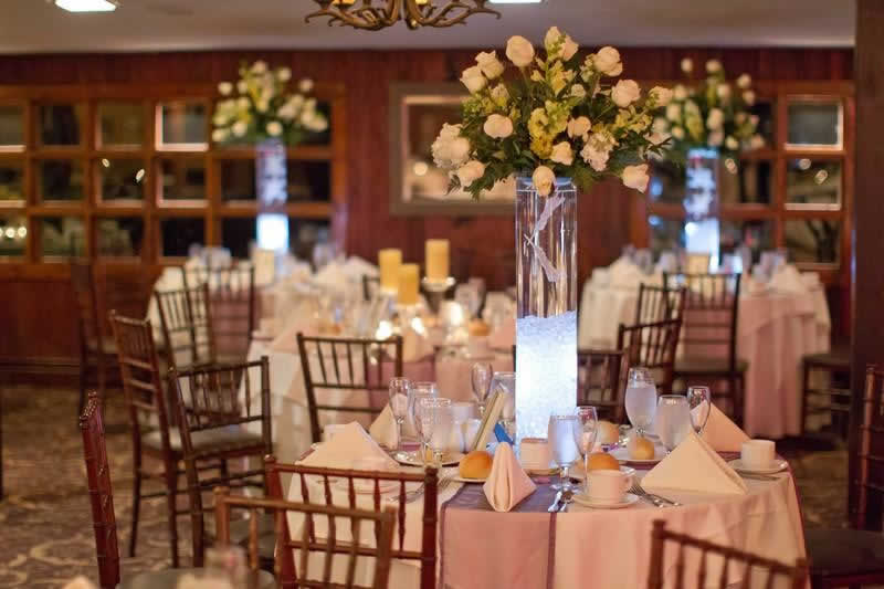 Stroudsmoor Country Inn - Stroudsburg - Poconos - Woodlands Outdoor Wedding - Table Settings With Tall Center Floral Centerpieces