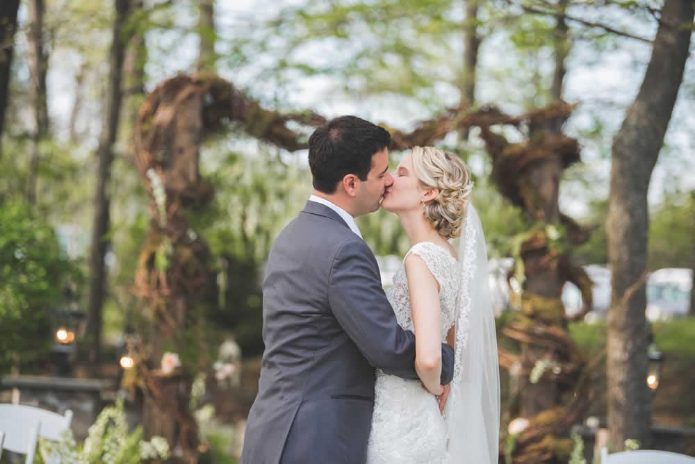 Wedding couple kissing