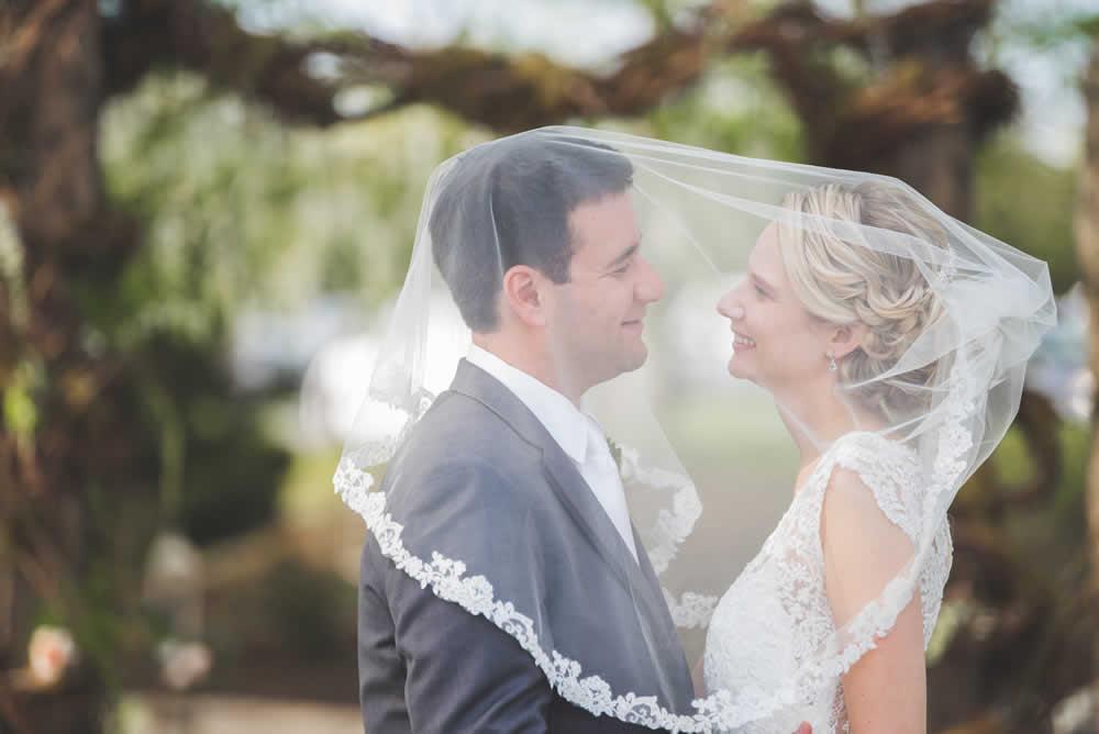 Wedding couple kissing under the veil