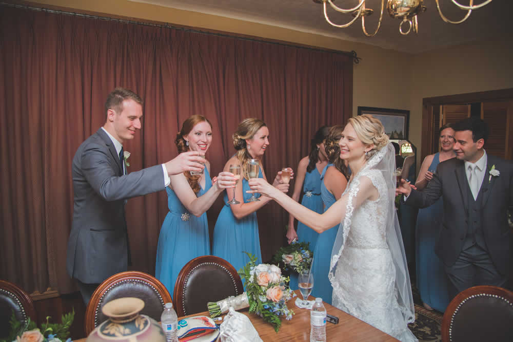Bride toasting at reception