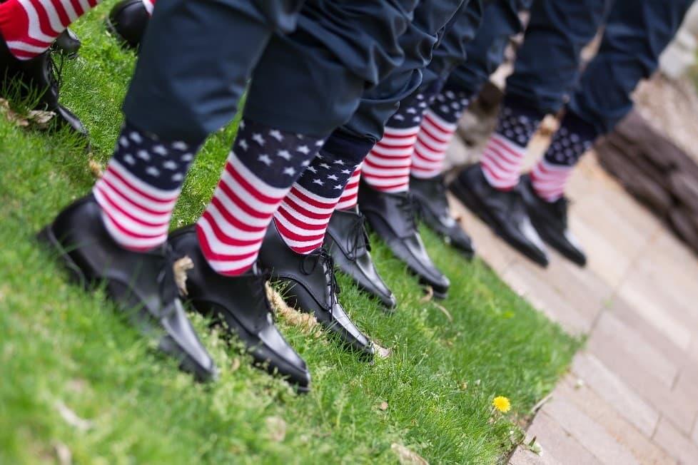 American Flag socks worn by wedding party